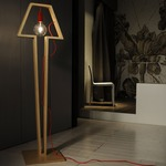 Earth Wooden Cable Floor Lamp by Lightology Collection
