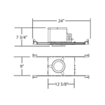 IC04 4IN MR16 GU5.3 12V IC Airtight New Construction Housing - Aluminum /