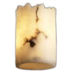 Dakota Cylinder Broken Rim Lumenaria Wall Sconce - Matte Black / Faux Alabaster