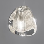 Mizu Round Multi Light Pendant - Brushed Nickel / Silver Dust