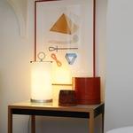 Pirellina Table Lamp - Satin Nickel / White Glass