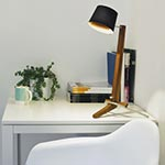 Silva LED Desk Lamp - Oiled Walnut / White Linen