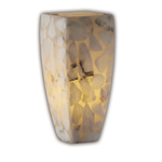 Aero Tall Tapered Square Wall Sconce - Brushed Nickel / Alabaster Rocks
