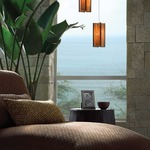 Freejack LED Essex Pendant - Satin Nickel / Beach Amber