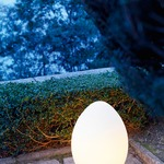 Uovo Outdoor Floor or Table Lamp - Steel / White