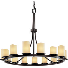 Dakota Single Tier Cylinder Melted Rim Chandelier