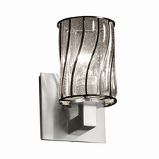 Modular Cylinder Flat Rim Wire Glass Wall Sconce