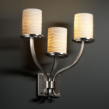 Sonoma Three Light Cylinder Flat Rim Limoges Wall Sconce
