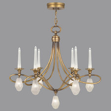 Quartz and Iron Scroll Chandelier