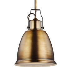 Hobson 14 inch 13W Pendant with Bulb Aged Brass
