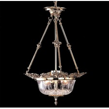 European Cast 3 Light Brass Chandelier