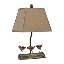 Little Birds on a Log Table Lamp