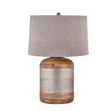 German Silver Drum Table Lamp