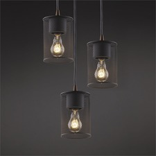Wire Mesh Cylinder Pendant Trio