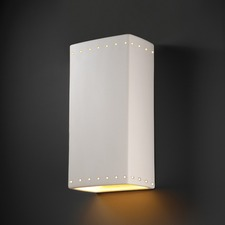 Extra Large Perforated Rectangle Downlight Wall Sconce