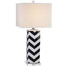 Square Base Black Chevron Table Lamp