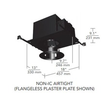 6 IN Square Flanged Regressed Fixed Non-IC Housing