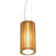 Line Cylindrical Wooden Slats Pendant