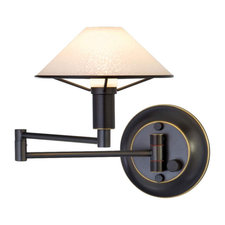 Aging Eye Glass Shade Swing Arm Wall Light
