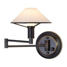 Aging Eye Glass Shade Swing Arm Wall Lamp