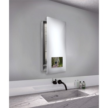 Seamless Right Recessed Medicine Cabinet with TV by Electric Mirror | SEA1940-AV-RT-RM