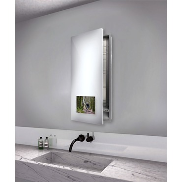 Seamless Left Recessed Medicine Cabinet with TV by Electric Mirror | SEA1940-AV-LT-RM