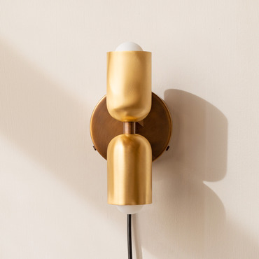 Brass Up Down Plug-In Wall Sconce