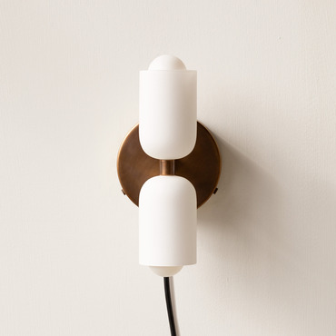 Glass Up Down Plug-In Wall Sconce