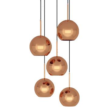 Copper Round LED Multi Light Pendant
