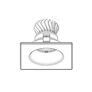 LEDR210 4 IN 12W Wide Beam Adj Square Trim White Reflector