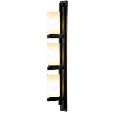 Ondrian Left Vertical 3 Light Bathroom Vanity Light by Hubbardton Forge | 206309L-07-G168