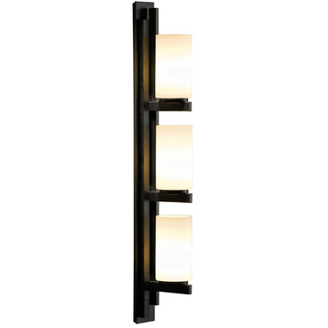 Ondrian Right Vertical 3 Light Bathroom Vanity Light by Hubbardton Forge | 206309R-07-G168
