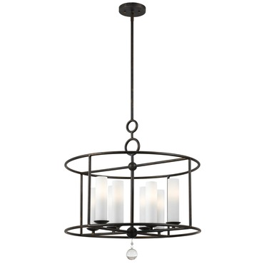 Cameron 8 Light Glass Shade Pendant by Crystorama | 9266-EB