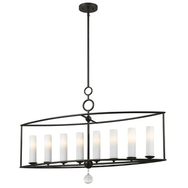Cameron Glass Shade Linear Chandelier by Crystorama | 9268-EB