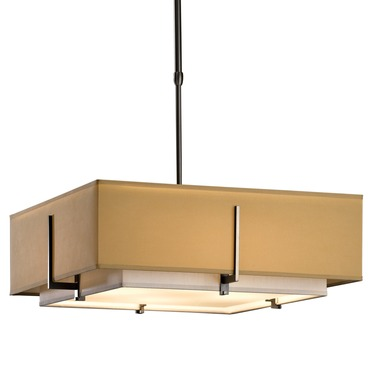 Exos Medium Double Shade Square Pendant by Hubbardton Forge | 139630-07-NHPB