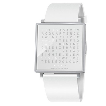 Qlocktwo White Face/Leather Wrist Watch