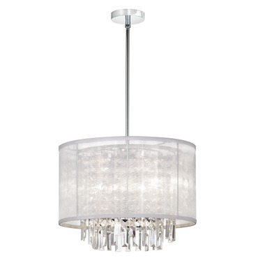 Cubix 4 Light Crystal Pendant with Organza Bling Shade