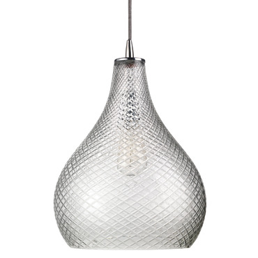 Large Cut Glass Curved Pendant by Jamie Young Company | 5CGCURV-LGCL
