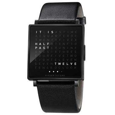 Qlocktwo Black Face/Rubber Wrist Watch