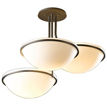 Moonband Triple Bowl Semi Flush Ceiling Light by Hubbardton Forge | 124255-07-G27