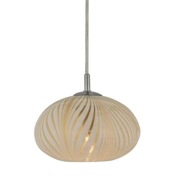 Oro Feathers Small Flat Round Canopy Pendant