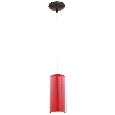 Glass n Glass Cylinder Pendant by Access | 28033-1C-ORB/CLRD