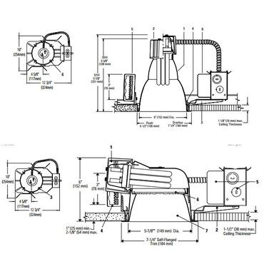 Calculite 6132BU 6 In CFL Horizontal/Vertical Frame-In Kit  by Lightolier   6132BU
