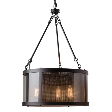 Bluffton Drum Shade Chandelier by Feiss | F2929/3ORB