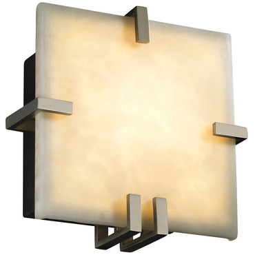 Clouds Clips Square ADA Wall Sconce by Justice Design | CLD-5550-NCKL-LED-1000