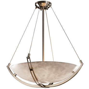 Clouds Round Bowl Crossbar Pendant by Justice Design | CLD-9722-35-NCKL-L-5000