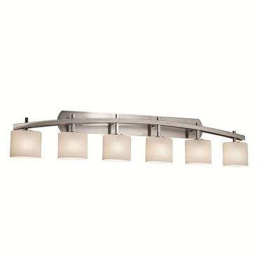 Archway Oval Six Light Bath Bar by Justice Design   FSN-8596-30-OPAL-NCKL