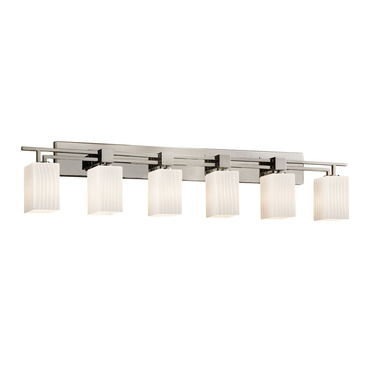 Aero Six Light Square Ribbon Flat Rim Bath Bar by Justice Design | FSN-8706-15-RBON-NCKL