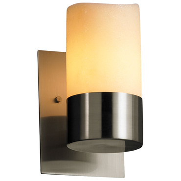 Dakota Cylinder with Melted Rim Wall Sconce by Justice Design | CNDL-8761-14-CREM-NCKL