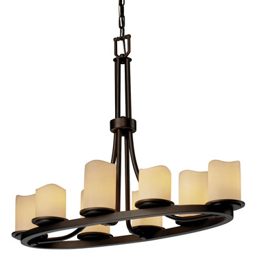 Dakota Melted Rim Oval Chandelier by Justice Design | CNDL-8751-14-CREM-DBRZ